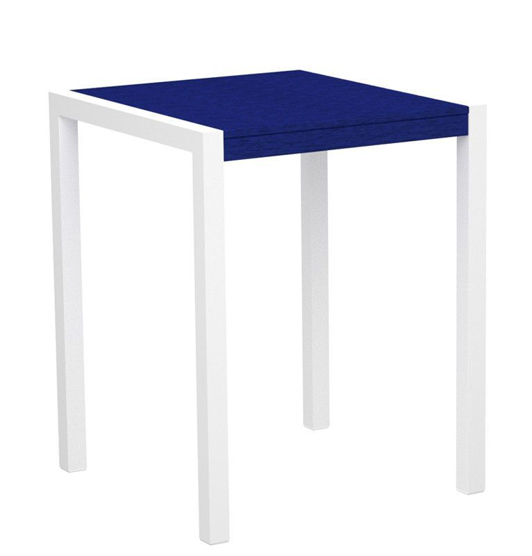 """Polywood 8001-10PB MOD 30"""" Counter Table in Gloss White Aluminum Frame / Pacific Blue"""