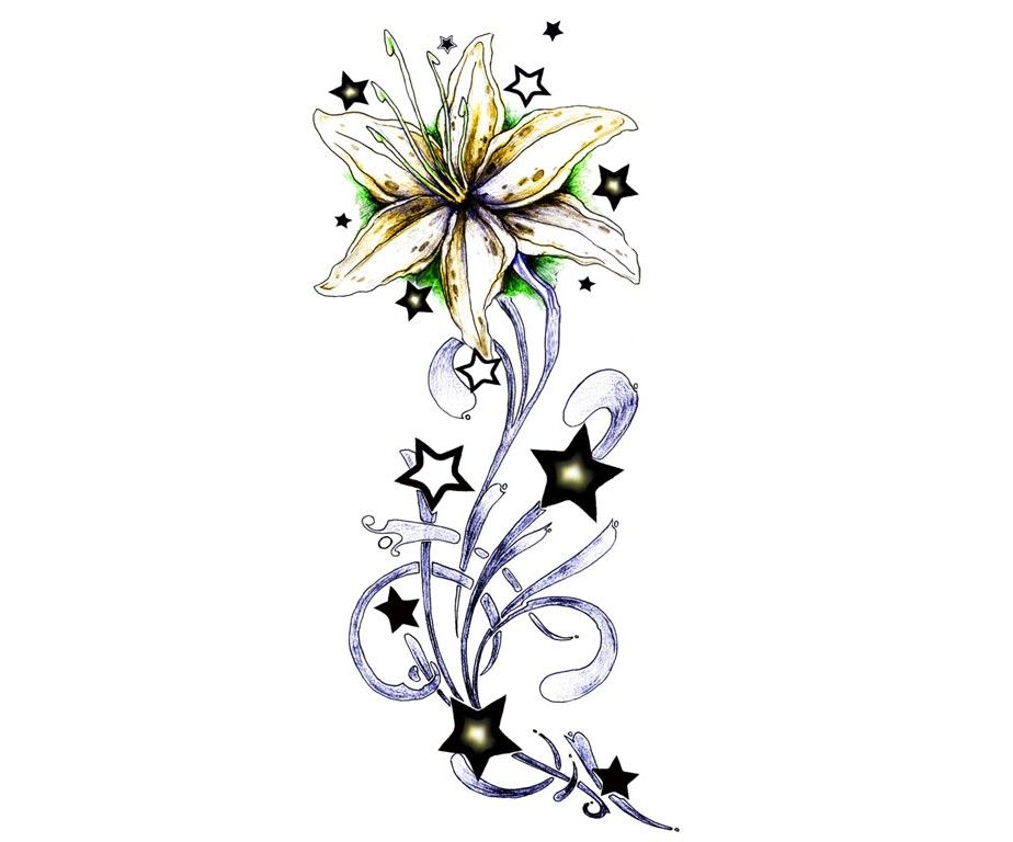 Star Flower Star Tattoo Design Tattootemptation Star Tattoos Flower Tattoos Flower Tattoo