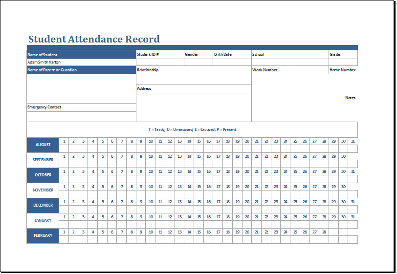 Student Attendance Record Template At HttpWwwXltemplatesOrg