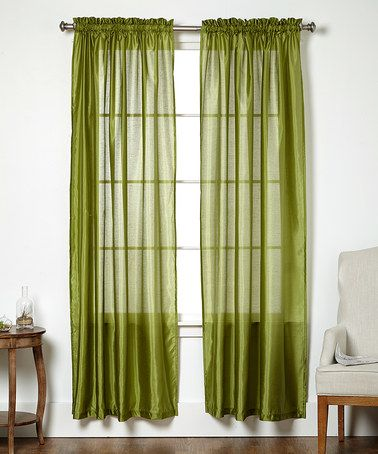 This Green Sheer Curtain Panel - Set of Two is perfect! #zulilyfinds