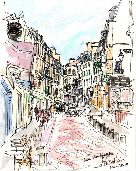 Rue Moufftarde - it looks as it is drawn. Packed with life and energy after work hours with all the bars, restos and shopping.