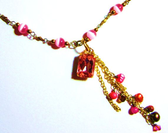 Peach Crystal Jewel Necklace pink glass beaded by LaJolieLolita, $27.99