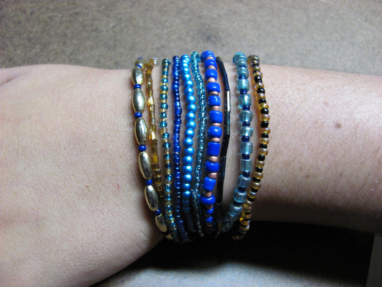 Hot Colorido Hecho a Mano con Cristales Piedras Preciosas Beads WRAP con brazalete de cuero 5 Wrap
