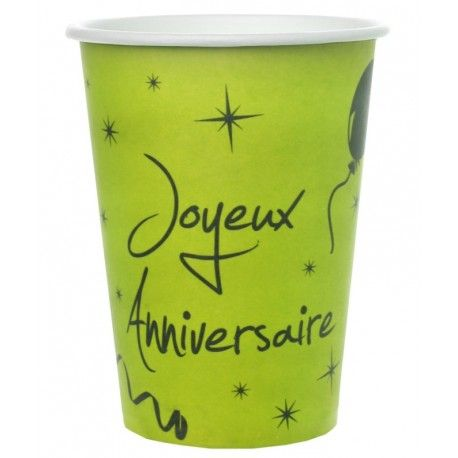 Gobelet carton joyeux anniversaire vert anis les 10