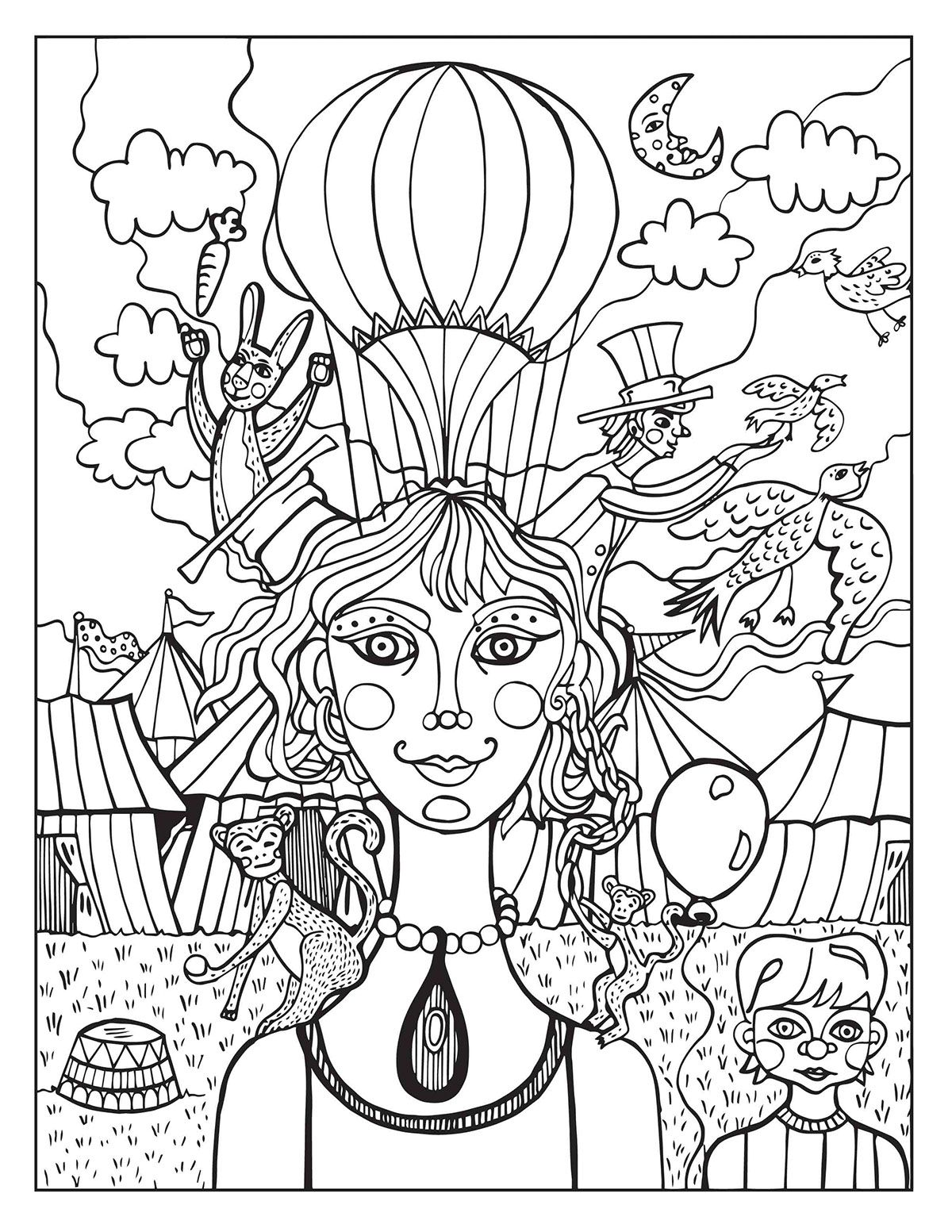 A Day At The Circus Coloring Page On Behance Circus Pinterest