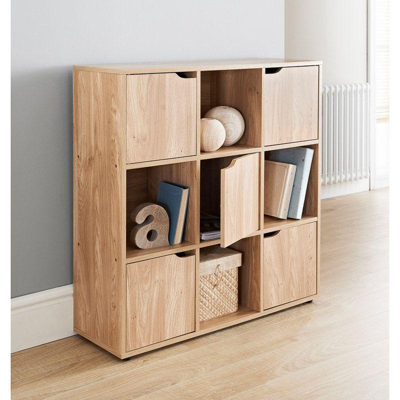 Etonnant Turin 9 Cube Shelving Unit. Stylish 9 Sections With 5 Doors And 4 Open Cubes   Oak Finish
