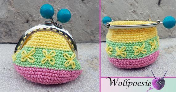 Geldbörse mit Blumen wollpoesie, häkeln | Häkeln / Crochet ...