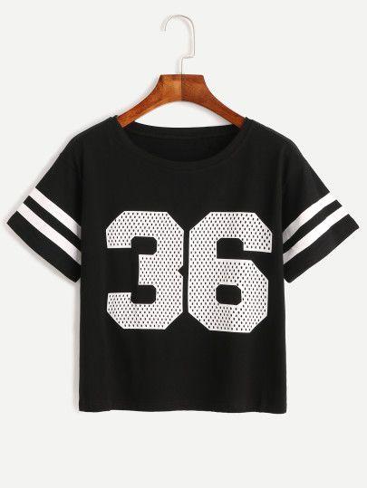 b5a26a3232 Black Number Print Varsity Striped T-shirt | Clothes | Women's ...