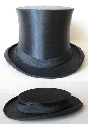 Antique German Collapsible Silk Satin Top Hat Folding Opera Hat 1930s Brilliant Design Beautiful Hat I Would Wear Ne Top Hat Satin Top Silk Satin Top