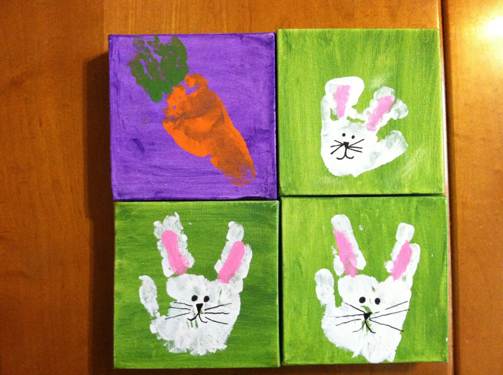 Easter gift idea for grandparents hand print rabbits and easter gift idea for grandparents hand print rabbits and footprint carrot did them on negle Gallery