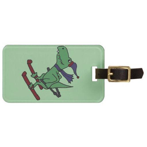 Funny Green Trex Dinosaur Skiing Bag Tag #dinosaur #skiing #funny #luggagetag #gifts And www.zazzle.com/tickleyourfunnybone*