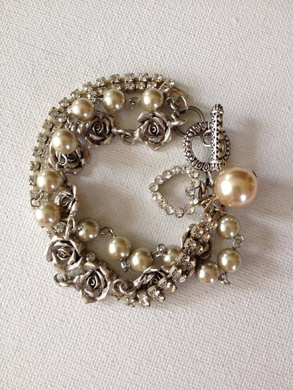 Vintage assemblage bracelet pearls by ChicMaddiesBoutique on Etsy, $45.00