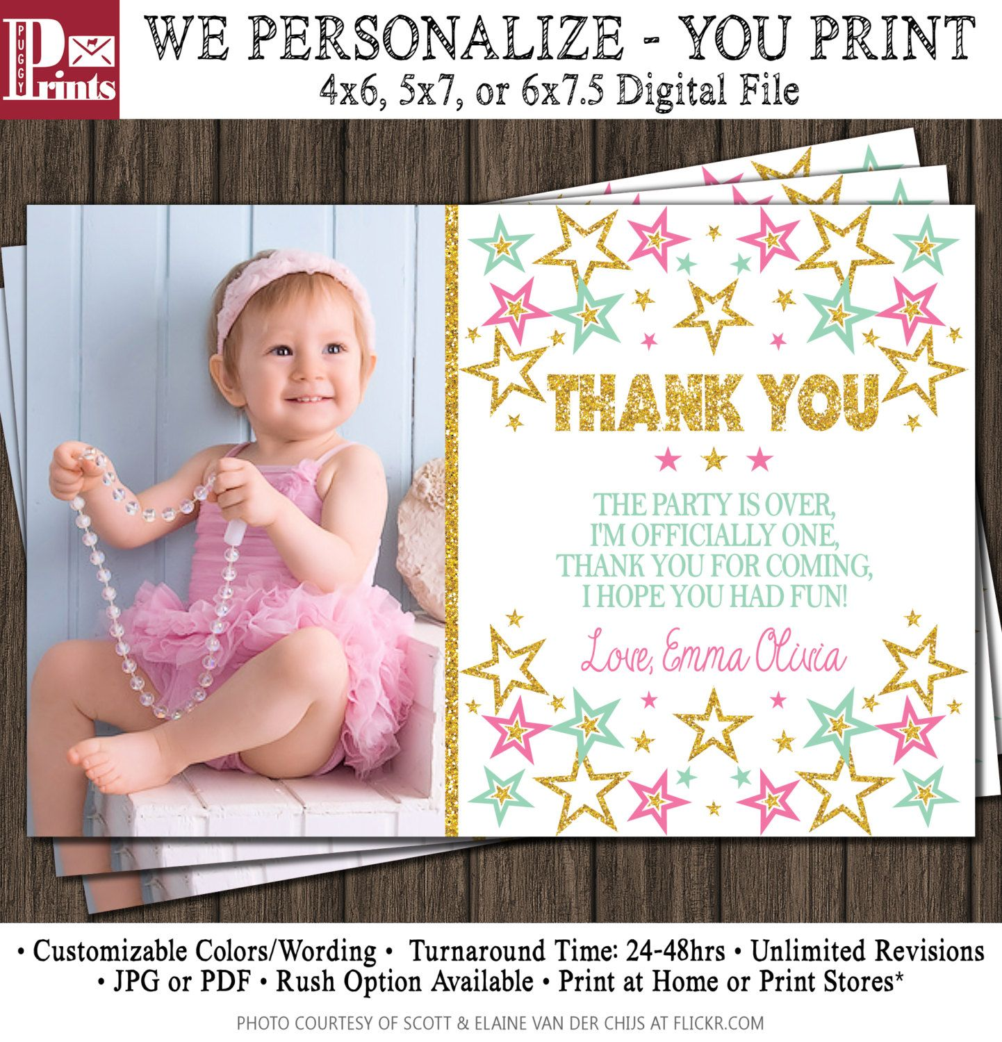 Twinkle Twinkle Little Star Thank You Card First Birthday Thank