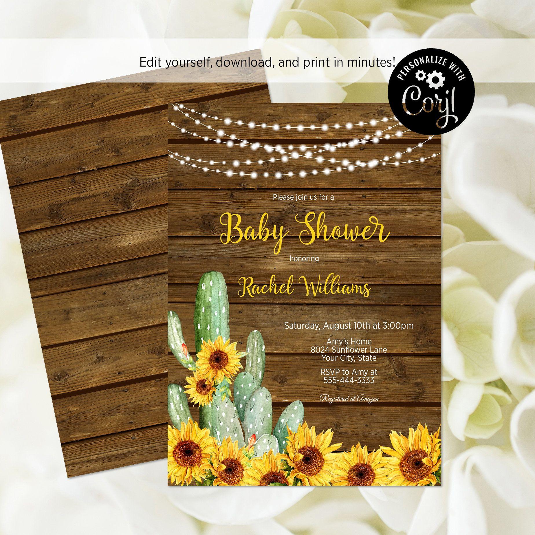 Cacti Baby Shower Invitation EDITABLE Invitation Printable Baby Shower Invitation Template, YELLOW bg Baby Shower Invite Corjl