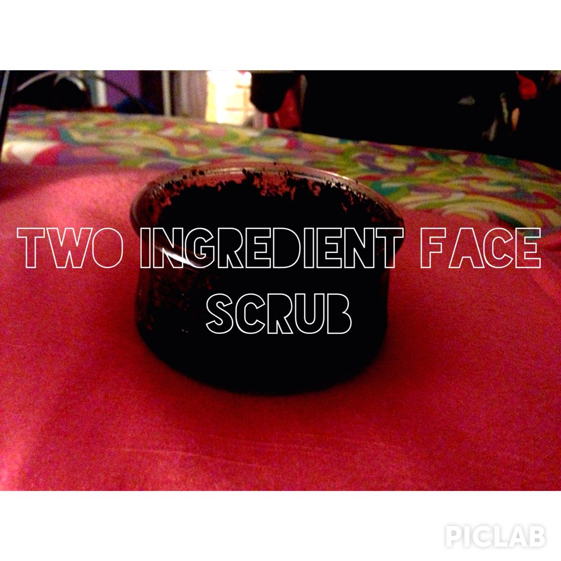 Simple two ingredient face scrub! Just add a little bit of olive oil to some coffee grounds. If you want to mix it up you can add whatever essential oil you want. It makes your skin extremely exfoliated and soft! But it's an intense exfoliation so it's not for everyday use!