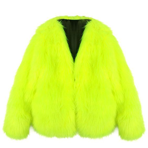 aa709235525dc Fluorescent Yellow Neon Fur Coat | Fluorescent Yellow Neon | Faux ...