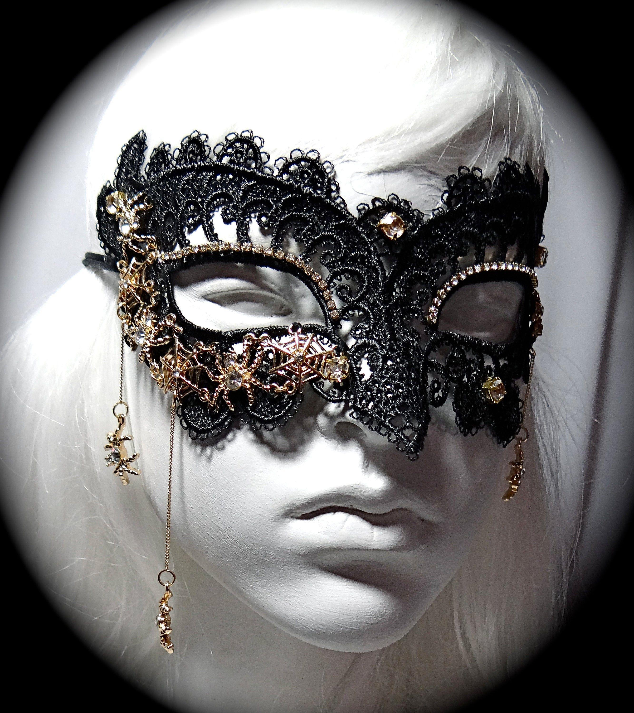 Spider Lace Mask Rhinestone Masquerade Ball Carnevale