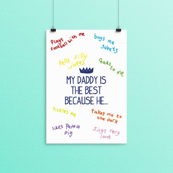 Daddy Fathers Day Print Personalised Gift Father For Birthday