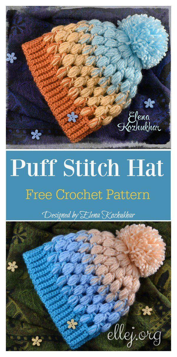 Puff Stitch Hat Free Crochet Pattern | Sombreros de ganchillo ...