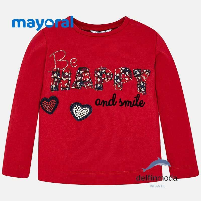 Camiseta Manga Larga De Nina Mayoral Aplique Happy Roja