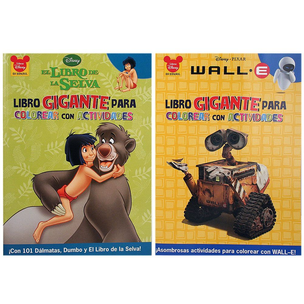 Disney 2-Pack Spanish Coloring Book Set [Wall-E and Jungle Book ...