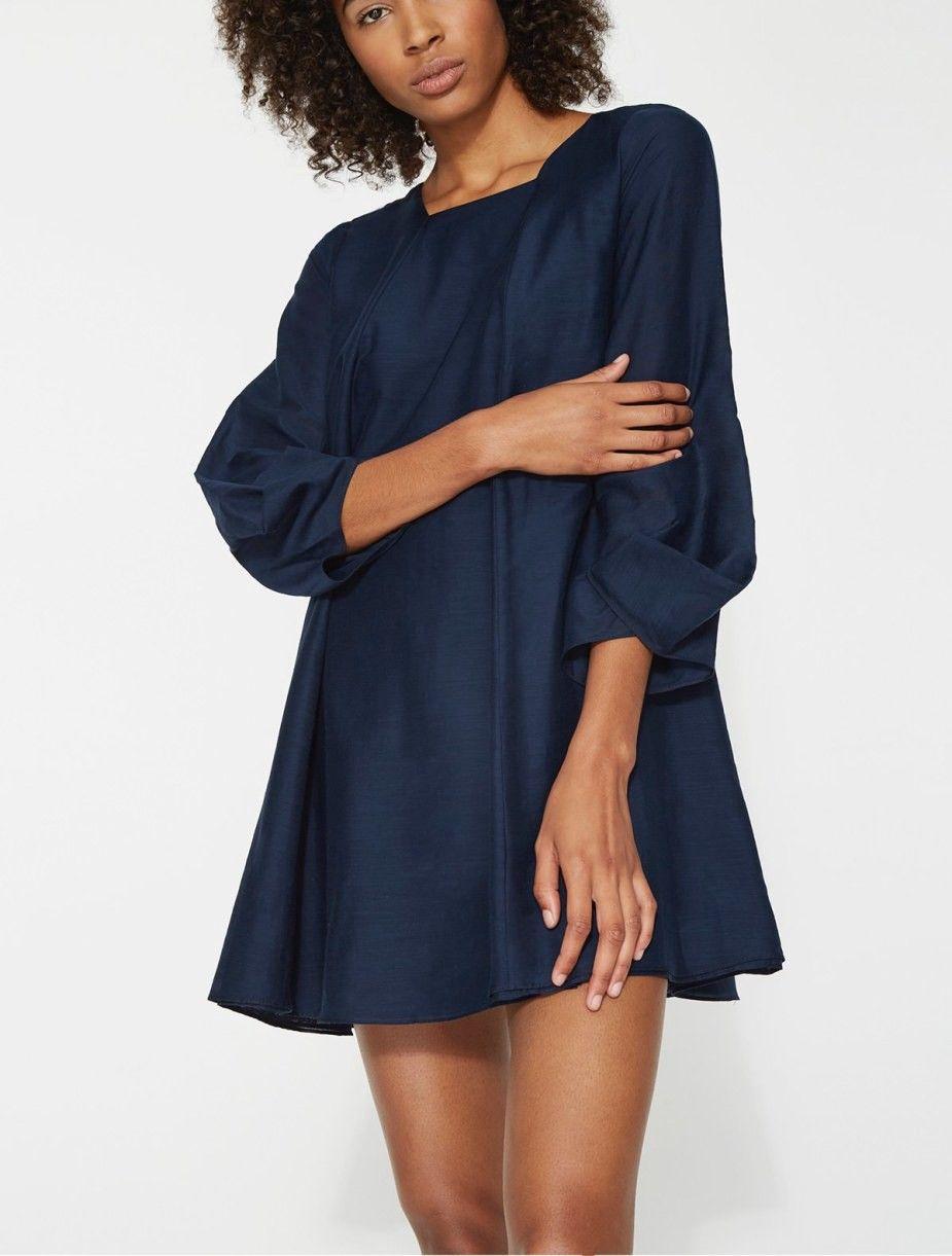 Mini Voile Dress With Cuff Detail - Dark Ink | Halston heritage ...
