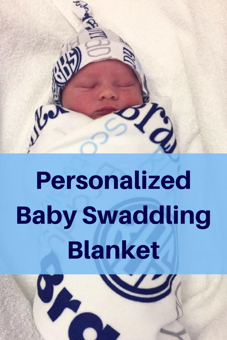 cbf1815711b Personalized Baby Blanket   Hat Set - Monogrammed Receiving Blanket and  Newborn Beanie Hat for Boys - Custom Name Swaddling Blanket and Hat  baby   blanket ...