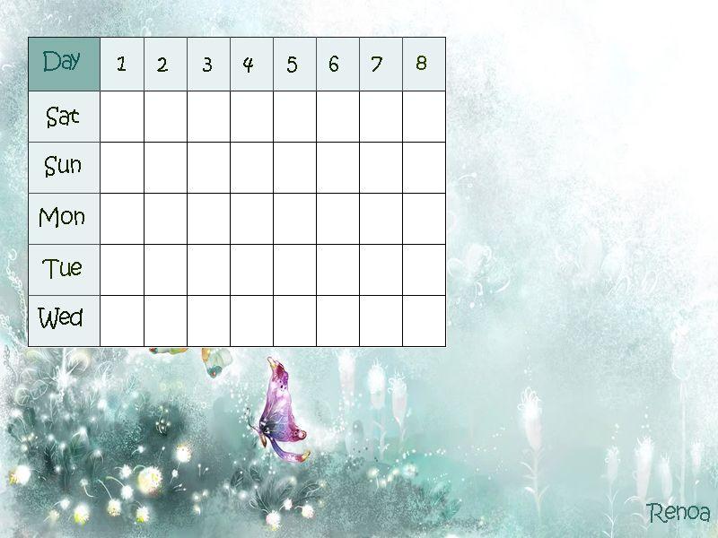 جدول الحصص الأسبوعي بالانجليزي من تصميمي سعودي انجلــش School Calendar School Calendar