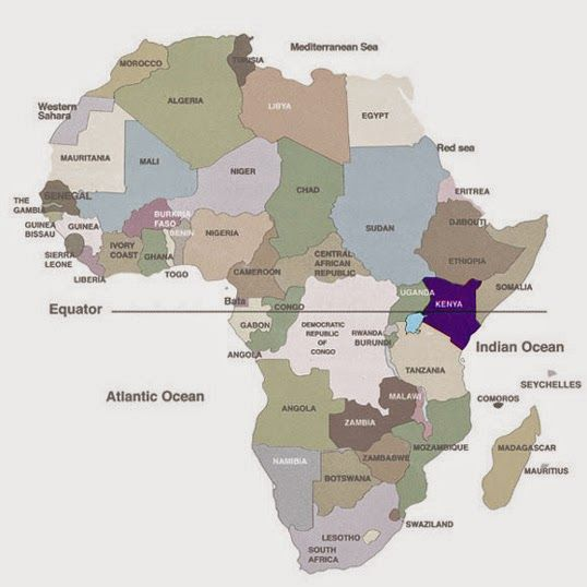 Free printable political map of Africa with the equator marked