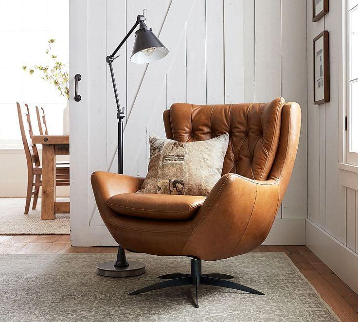 Wells Leder Drehsessel Mit Gestell Aus Geburstetem Nickel Mit Polyester Umwickelten Kissen Lounge Chair Design Arm Chairs Living Room Swivel Chair Living Room