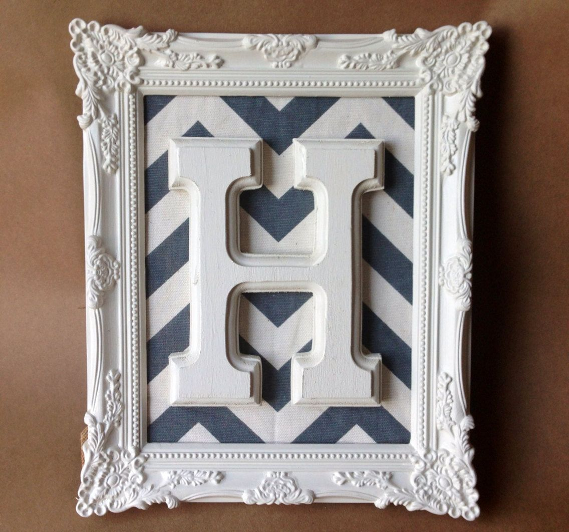 Baroque frames letter art monogram ornate chevron by JaxandJos ...