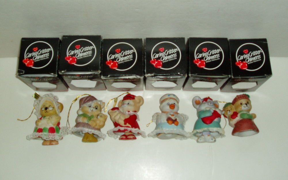 Lot 6 Vtg CARING CRITTER CHIMERS Bisque Porcelain Bell Figurines Jasco Christmas