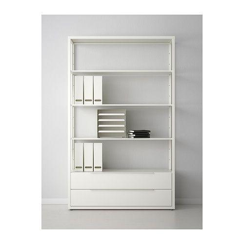 Fjalkinge Shelf Unit With Drawers White 46 1 2x13 3 4x76 Shelving Unit Shelves Ikea
