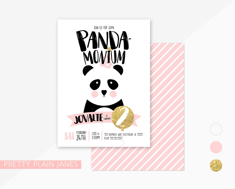 Panda Birthday Party Invitation | Panda-Monium Birthday Party Invite ...