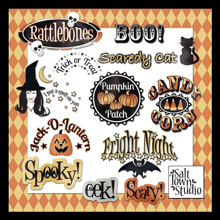 Friday's Guest Freebies ~ Salt Town Studio  ✿ Follow the Free Digital Scrapbook board for daily freebies: https://www.pinterest.com/sherylcsjohnson/free-digital-scrapbook/ ✿ Visit GrannyEnchanted.Com for thousands of digital scrapbook freebies. ✿ Free Halloween clip art and Word Art Witch Cat Spooky Pumpkin Star Skull
