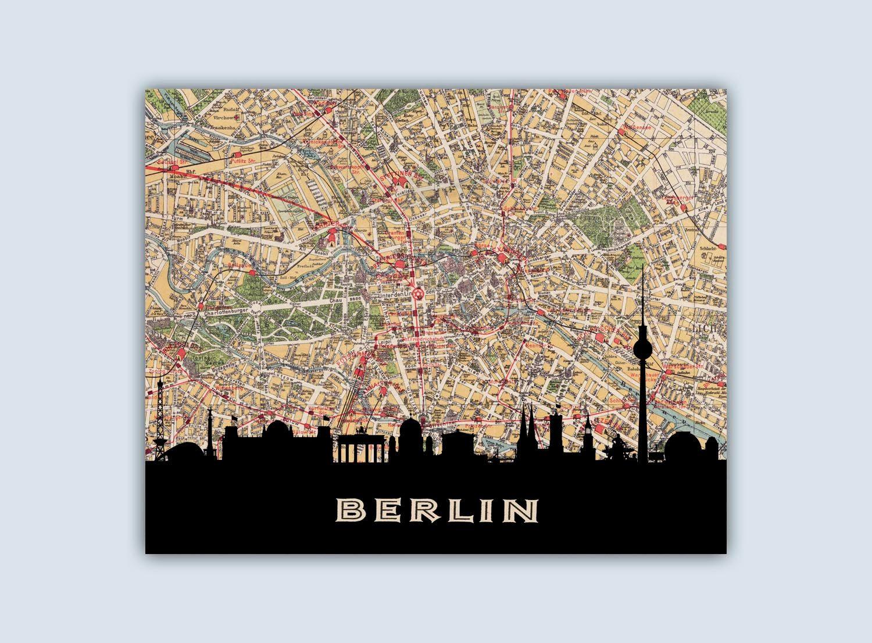 berlin skyline berlin print berlin city map personalized skyline print berlin decor berlin. Black Bedroom Furniture Sets. Home Design Ideas