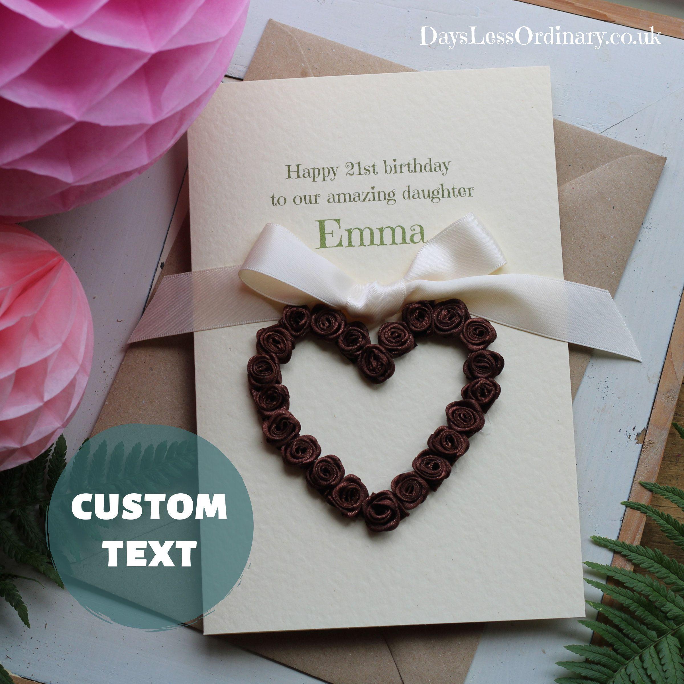 Custom Made Brown Roses Heart Handmade 50th Birthday Card 51st 52nd 53rd 54th 55th 56th Speci 70th Birthday Card Birthday Cards For Women Birthday Cards