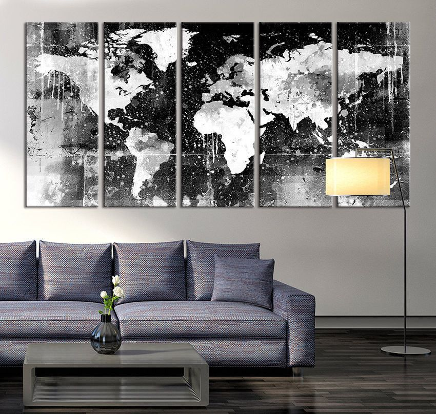 Canvas print black and white world map wall art ready to hang canvas print black and white world map wall art ready to hang large wall gumiabroncs Gallery