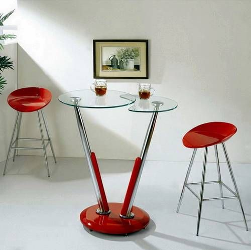 Modern Bistro Table Modern Twist Bar Table and Red Stools Images