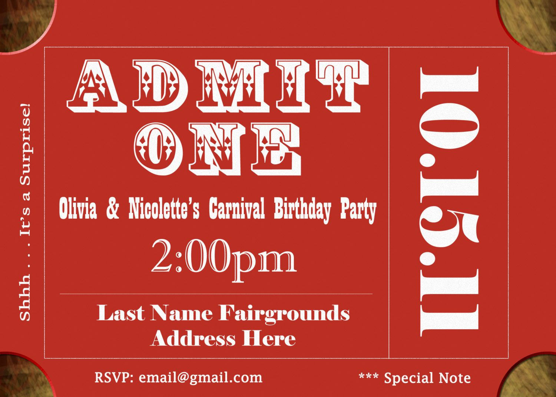 Carnival Ticket Birthday Invitations