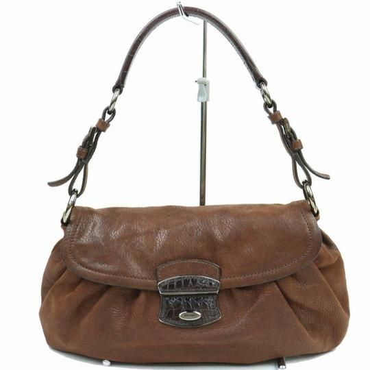 9a04fe9fc3c7f1 Prada Vitello Daino Purses Brown Buttery Soft Leather and Crocodile  Embossed Accent At Clasp Shoulder Bag