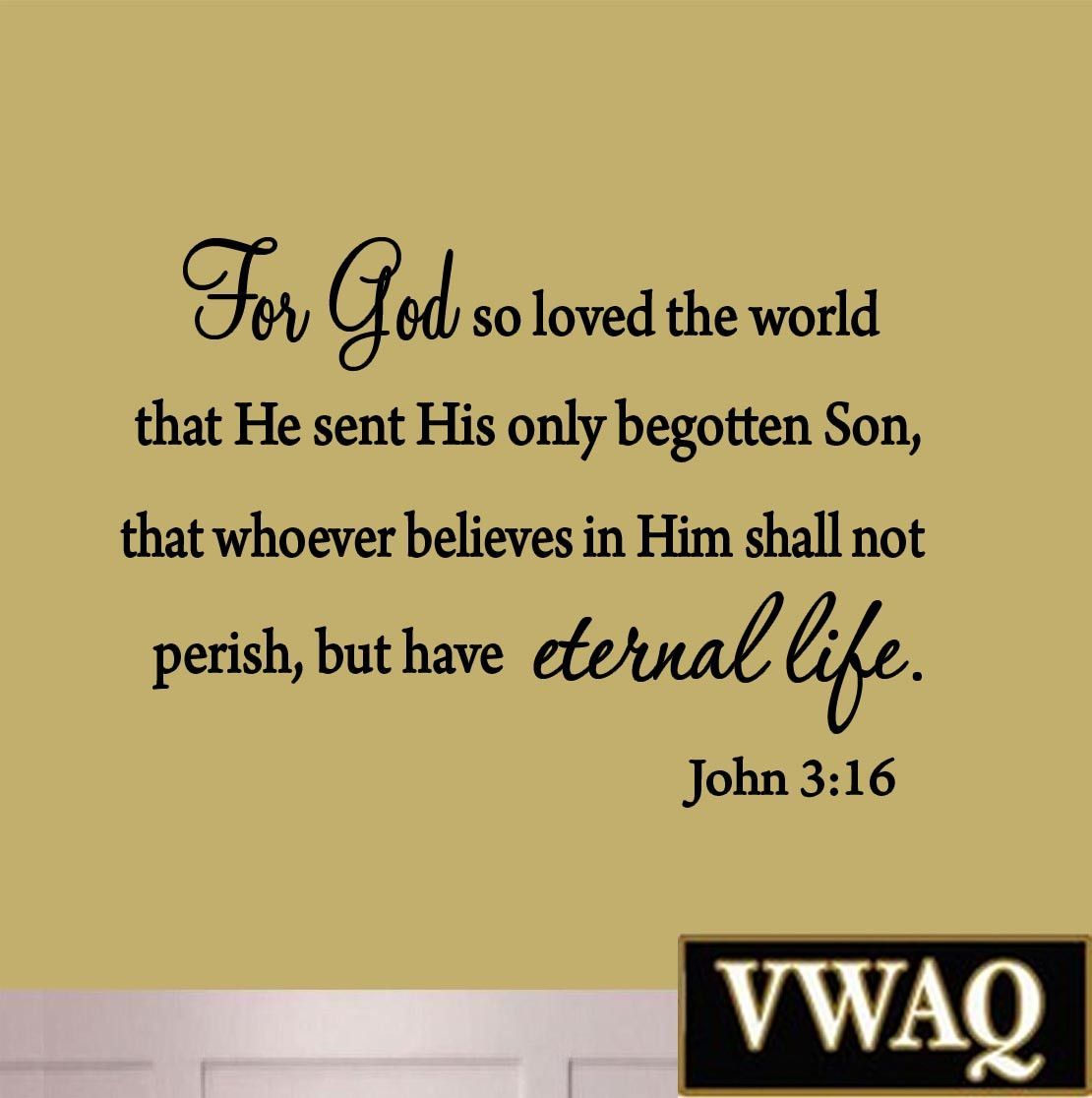 VWAQ For God So Loved The World John 3:16 Wall Decal | Verses, Bible ...