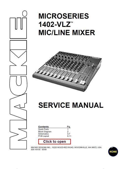 Mackie 1402-VLZ microseries mixer , Service Manual | DJ Mixers ... on