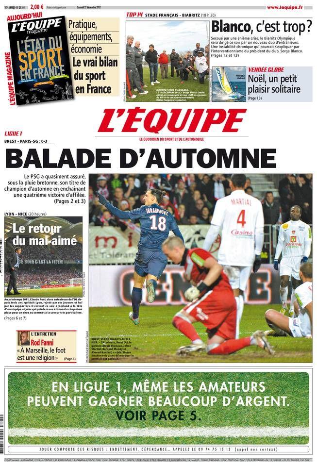 L'Équipe - Samedi 22 Décembre 2012 - N° 21344