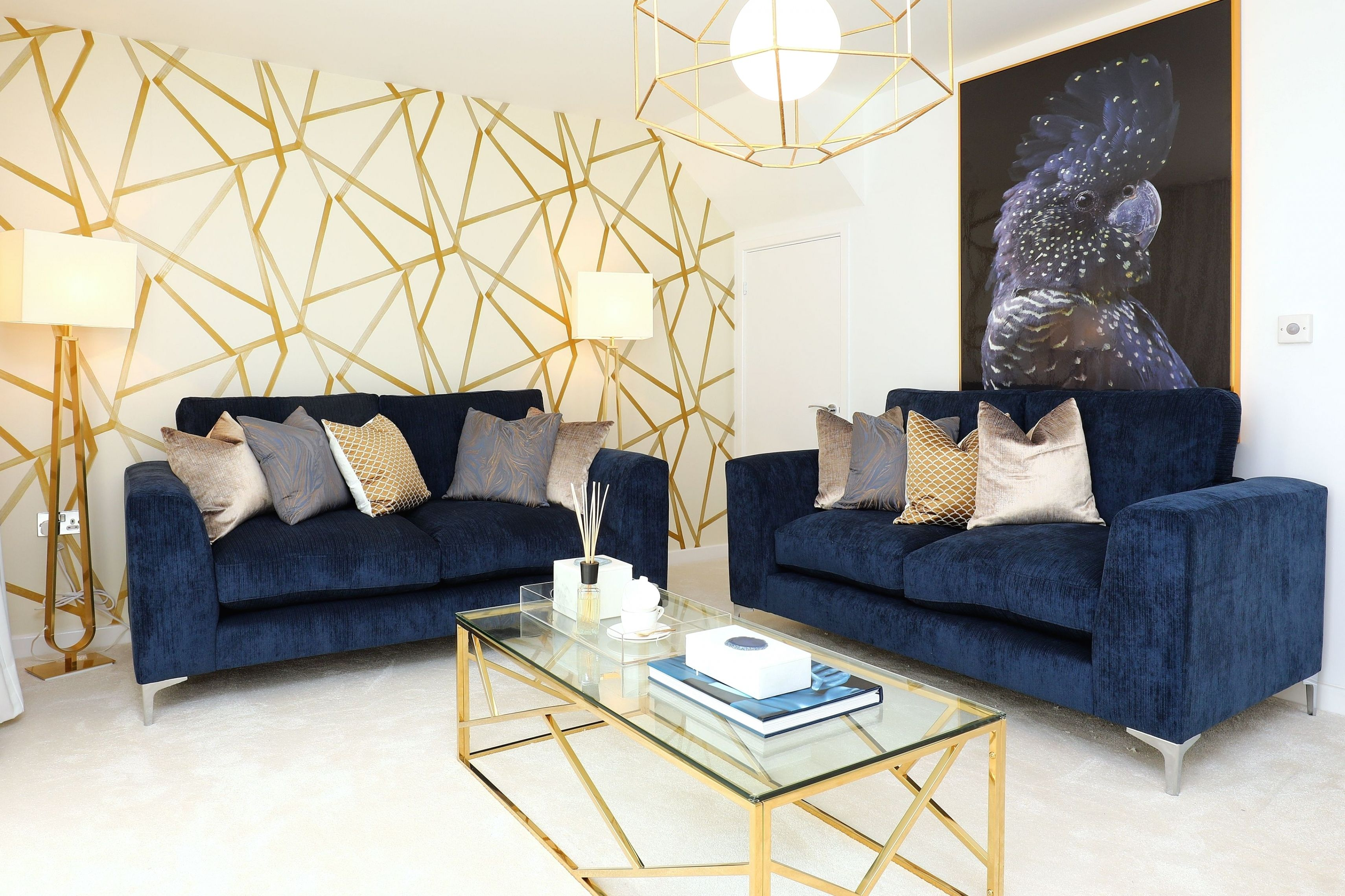Navy Gold In 2021 Gold Living Room Decor Blue Sofas Living Room Blue Couch Living Room