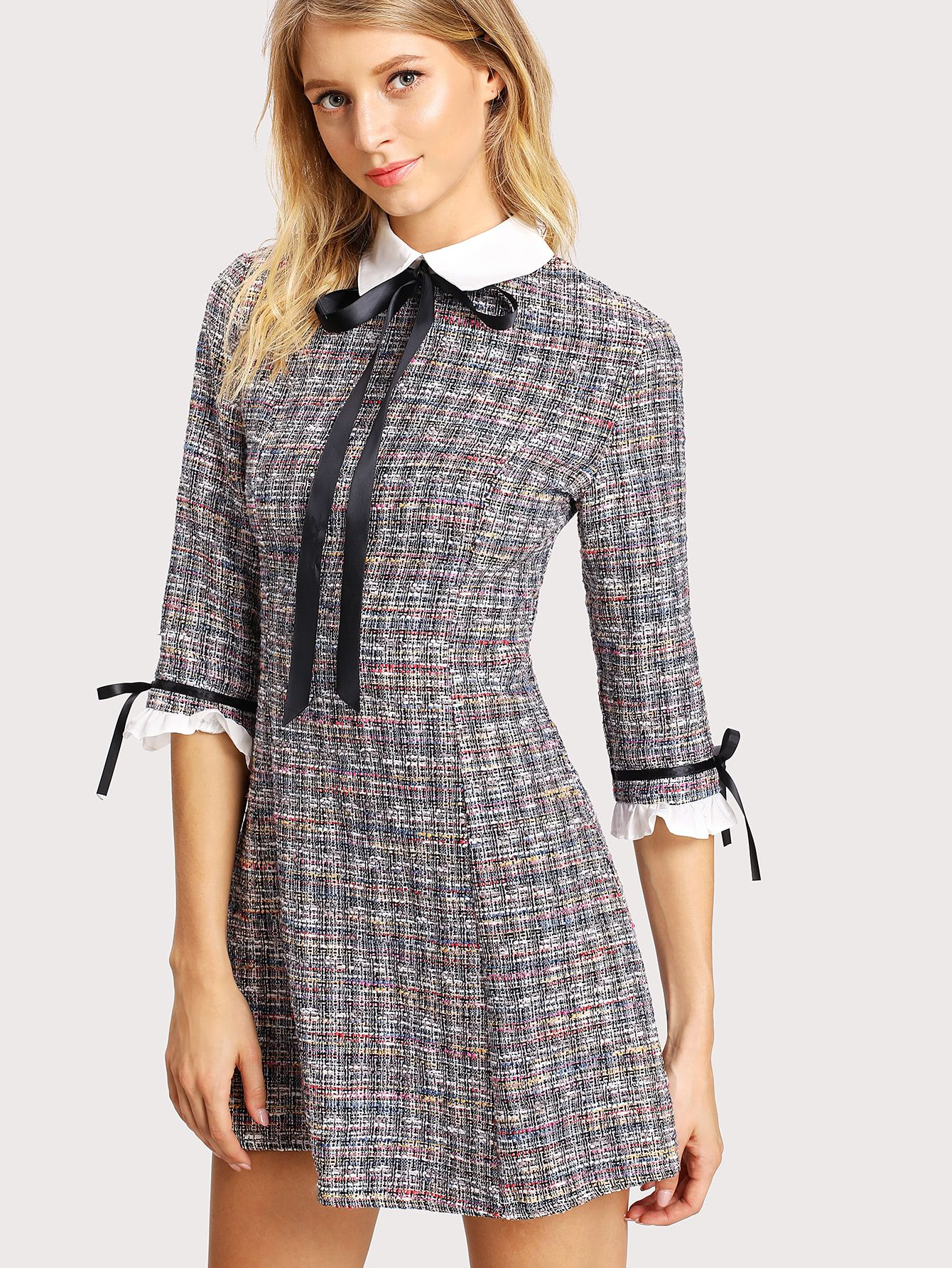 55a29072f8 Shop Contrast Collar And Cuff Tweed Dress online. SheIn offers Contrast  Collar And Cuff Tweed Dress & more to fit your fashionable needs.