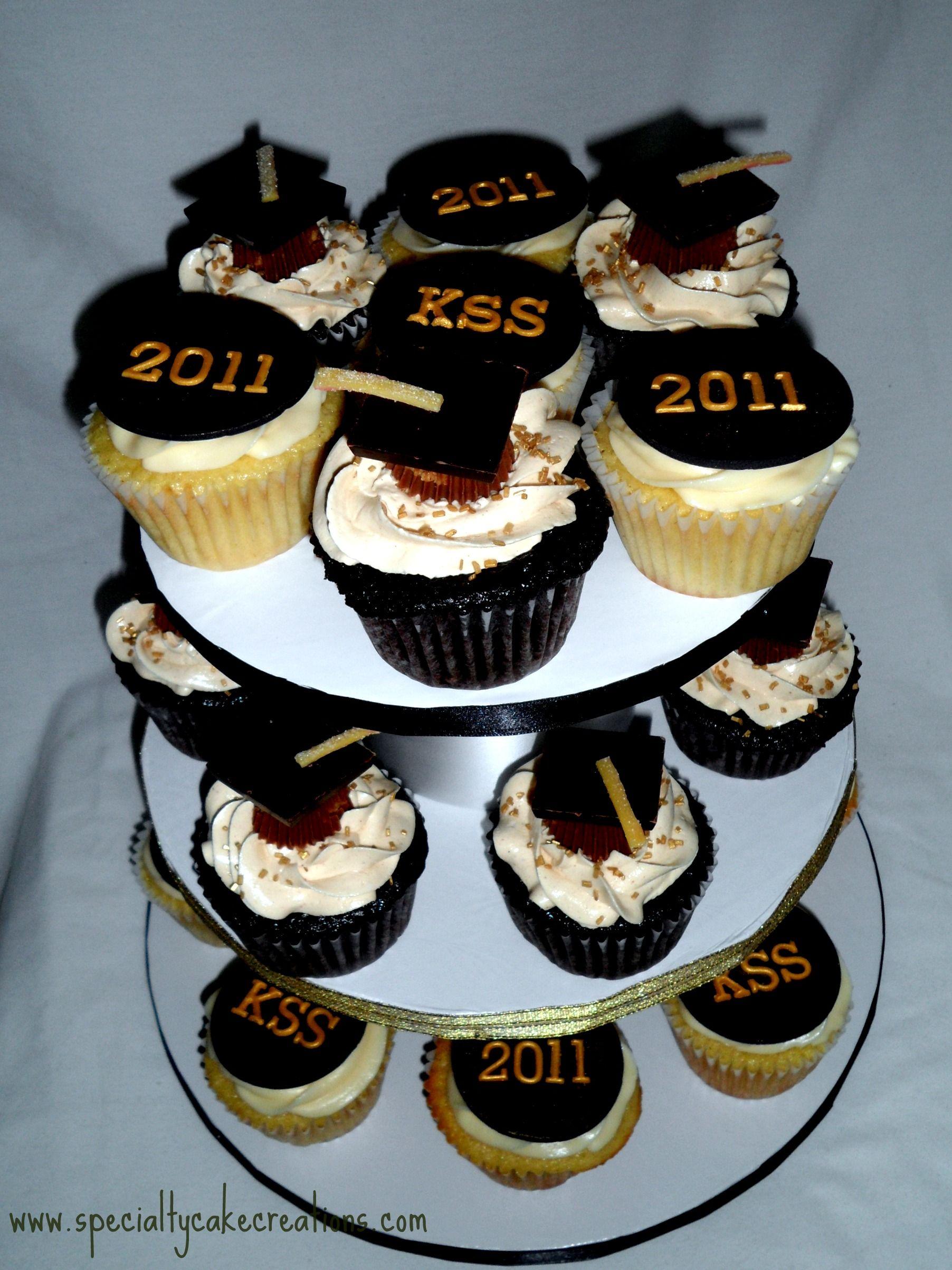 Cupcake Cake Designs For Graduation : gold graduation Graduation Cupcake Tower : Specialty ...