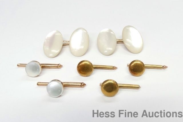 Antique Larter Genuine 14k Gold Mother of Pearl Shirt Stud Cufflinks Set #Larter