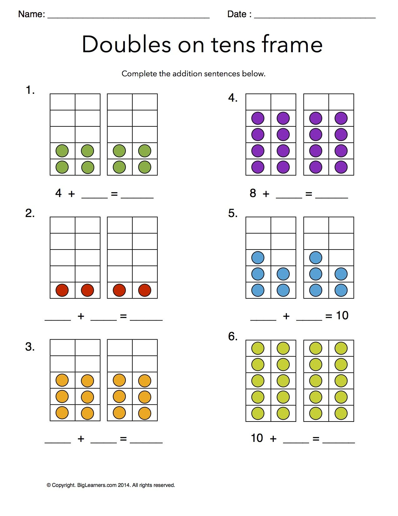 Worksheet Doubles On Tens Frames Practice Addition Doubles Facts On The Ten Fra Free Math Worksheets Kindergarten Math Worksheets 1st Grade Math Worksheets