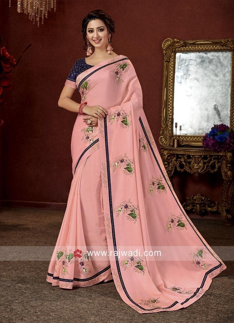 48f88498c38aa Art Satin silk Floral Print Pink saree #rajwadi #saree #sareeswag  #traditional #FeelRoyal #festive #weddingwear